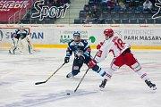 Utkání 45. kola Tipsport extraligy ledního hokeje se odehrálo 30. ledna v liberecké Home Credit areně. Utkaly se celky Bílí Tygři Liberec a HC Oceláři Třinec. Na snímku zprava Erik Hrňa, Lukáš Derner a Roman Will.