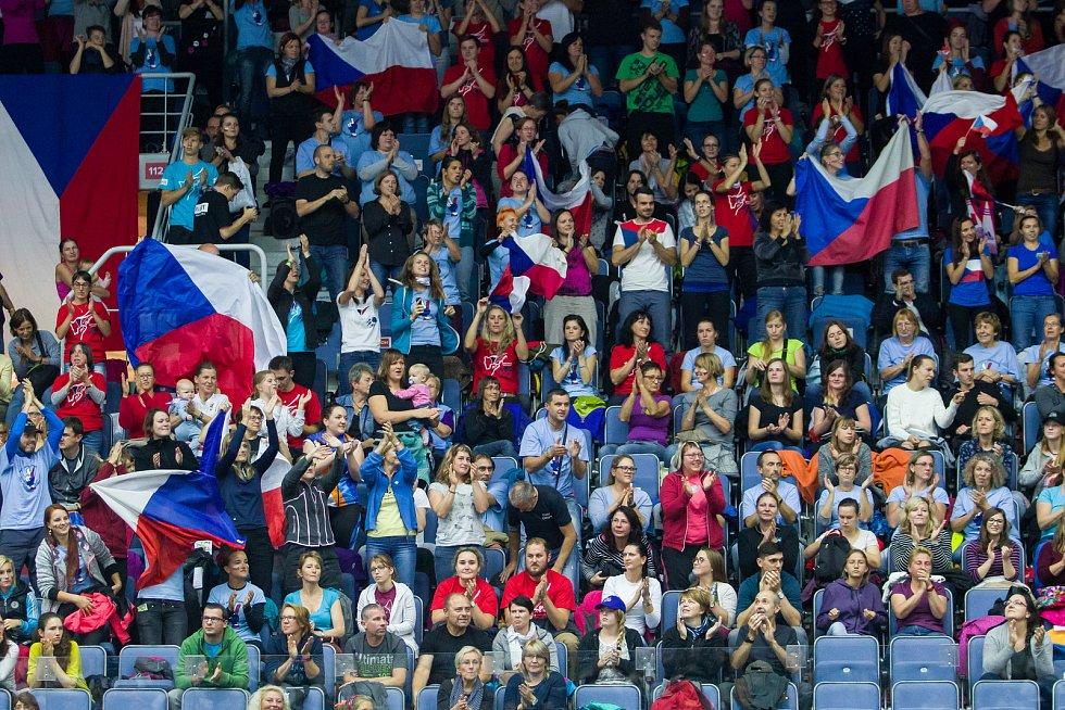 Poslední den Mistrovství světa v agility proběhl 8. října v Home Credit areně v Liberci. Na snímku jsou fanoušci při disciplína agility jednotlivců se středně velkými psy.