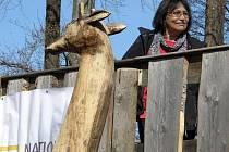 Nové mládě žirafy, které se narodilo v polovině února a nese jméno Bwindi, pokřtila v liberecké zoo v sobotu 16. dubna známá zpěvačka a ochranitelka zvířat Marta Kubišová.