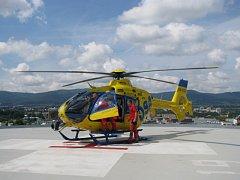 Heliport v areálu liberecké nemocnice.