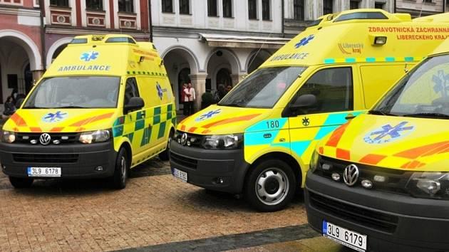 Vozy Zdravotnické záchranné služby Libereckého kraje.
