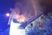 Požár domu ve Frýdlantu na Liberecku.