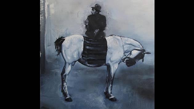 MINORITNÍ DIALOG 2013, 110x115 cm, olej a email na plátně od malíře Zbyňka Linharta.