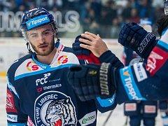 Třetí zápas čtvrtfinále Generali play off Tipsport extraligy Bílí Tygři Liberec - Mountfield HK. Na snímku je Tomáš Filippi.