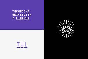 Kompletní český výpis názvu, zkratka TUL a doplňkový symbol Ještědu.