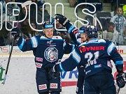 Utkání 42. kola Tipsport extraligy ledního hokeje se odehrálo 21. ledna v liberecké Home Credit areně. Utkaly se celky Bílí Tygři Liberec a Aukro Berani Zlín. Na snímku vlevo Lukáš Jašek.