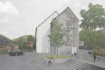 Vizualizace možné nové podoby budovy Koruna v Bílém Potoce od architekta Vladimíra Baldy.