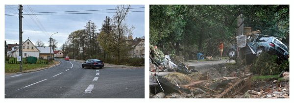 Srovnání silnice vRaspenavě při povodni a dnes.