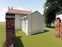 Vizualizace sociálního zařízení na hřbitově.