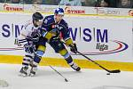 Utkání 46. kola WSM ligy ledního hokeje se odehrálo 3. února v liberecké Home Credit areně. Utkaly se celky HC Benátky nad Jizerou a Rytíři Kladno. Na snímku vpravo je Adam Kubík.