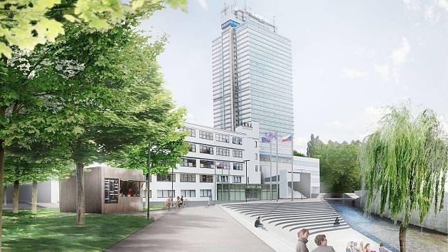 Vizualizace budoucí liberecké náplavky, tedy prostoru mezi krajským úřadem a Rybníčkem.