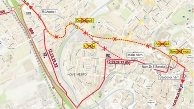 Od 1. července do 31. srpna 2019 v souvislosti s uzavírkou křižovatky Londýnská x Norská budou linky č. 12, 23 vedeny obousměrně objízdnou trasou ze zastávky Malé náměstí ulicemi U Soudu, Jungmannova a Žitavská do zastávky Růžodol I.