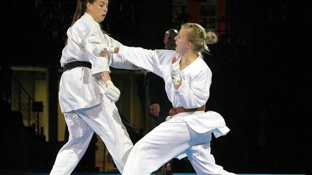 Na snímku finálové utkání ženských družstev – Srbka Mirdinjová (tmavovlasá větší) porazila Češku Matějkovou.