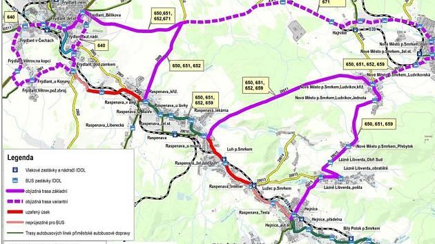 POMŮCKA NA PŘÍŠTÍCH PĚT MĚSÍCŮ. Mapka zobrazuje informace pro řidiče i cestující. Červená barva značí úplně uzavřené úseky silnice, fialová objízdné trasy.