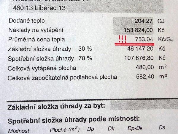 ROZDÍLNÉ CENY ZA GIGAJOULY. Na snímku cena za rok 2013.Podle nájemníků jde ozdražení, podle teplárny ne.