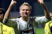 RADOST. Brankář Liberce Zlámal slaví výhru 2:1 v derby nad Jabloncem.