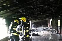 Požár kůlny v Hrádku nad Nisou.