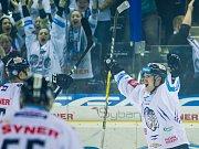 Páté utkání semifinále Generali play off Tipsport extraligy ledního hokeje mezi celky Bílí Tygři Liberec a Piráti Chomutov se odehrálo 7. dubna v liberecké Home credit areně. Na snímku Jan Ordoš.