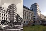 Dům Baťa na Soukenném náměstí v Liberci na historické fotografii (vlevo) a dnes