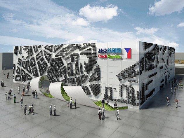 VIZUALIZACE CELKOVÉHO POHLEDU NA ČESKÝ PAVILON NA SVĚTOVÉ VÝSTAVĚ EXPO 2010 ŠANGHAJ. Hlavními prvky je reliéf na fasádě budovy pavilonu a laminátová stuha, takzvaný Ribbon.