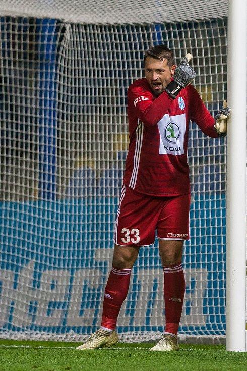 Zápas 14. kola první fotbalové ligy mezi týmy FC Slovan Liberec a FK Mladá Boleslav se odehrál 5. listopadu na stadionu U Nisy v Liberci. Na snímku je brankář Jan Šeda.