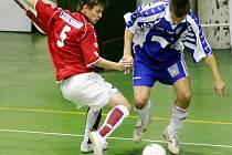 Mistrovské utkání ve futsale l.ligy mezi TJ Slavia TU Liberec a Goll Běloves.