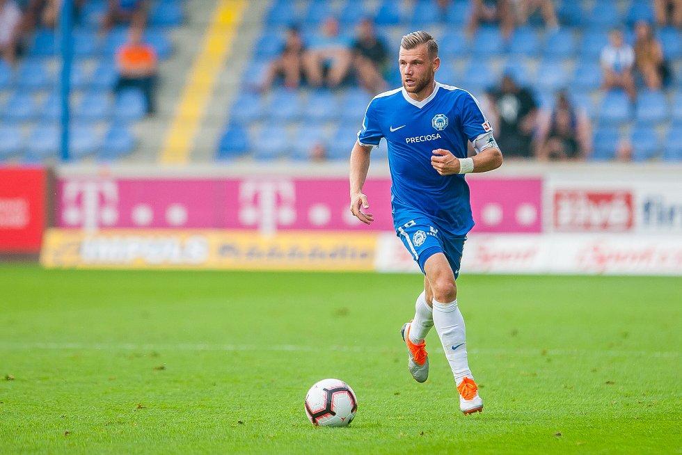 Zápas 3. kola první fotbalové ligy mezi týmy FC Slovan Liberec a FK Teplice se odehrál 4. srpna na stadionu U Nisy v Liberci. Na snímku je Radim Breite.