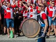 Fanoušci Slavie prošli Libercem před zápasem 25. kola první fotbalové ligy