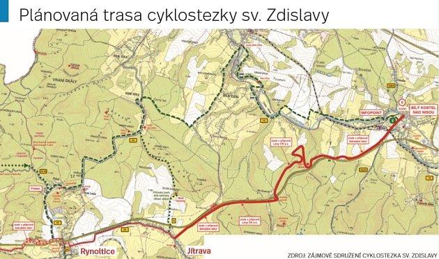 Plánovaná trasa cyklostezky