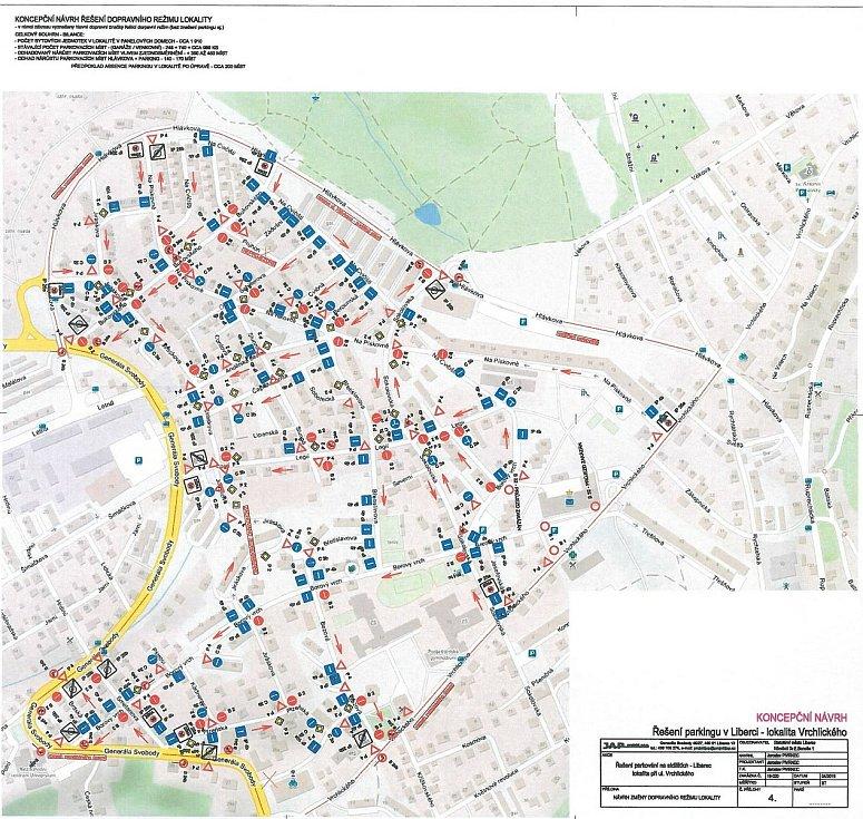 Návrh jak se změní dopravní značení v lokalitě Vrchlického.