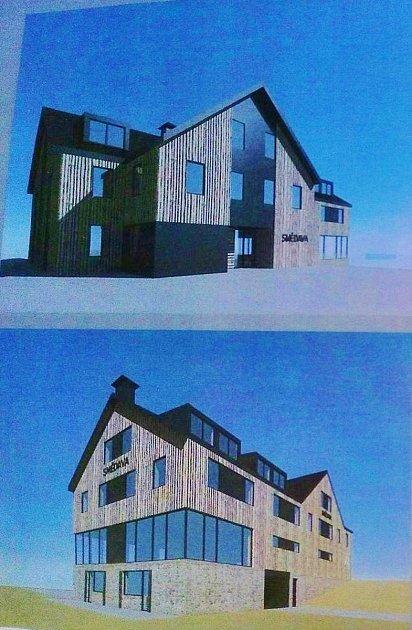 Návrh nové podoby chaty Smědava. Ze staré budovy by nemělo zbýt nic, má se zbourat. Důležité slovo ale bude mít Správa CHKO Jizerské hory, na které záleží, zda stavbu vnavržené podobě povolí.