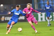 Utkání Slovanu Liberec (v modrém) proti TSG 1899 Hoffenheim