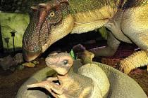 Maiasaurus v libereckém DinoParku.
