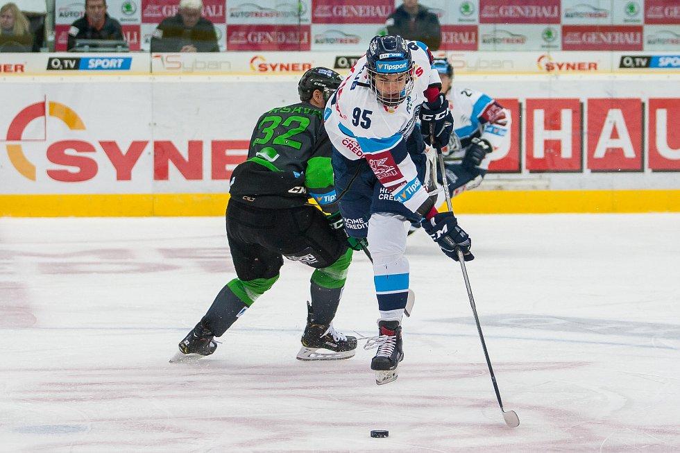 Utkání 6. kola Tipsport extraligy ledního hokeje se odehrálo 30. září v liberecké Home Credit areně. Utkaly se celky Bílí Tygři Liberec a BK Mladá Boleslav. Na snímku je Michal Teplý (95).