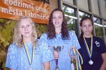ÚSPĚŠNÉ PLAVKYNĚ SPK LIBEREC. Krejzarová, Matošková a Burešová, medailistky z Litoměřic.
