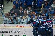Utkání 9. kola Tipsport extraligy ledního hokeje se odehrálo 1. října v liberecké Home Credit areně. Utkaly se celky Bílí Tygři Liberec a HC Dynamo Pardubice. Na snímku je radost hokejistů Liberce.