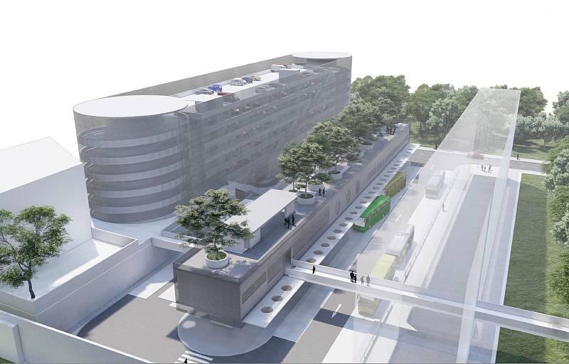 Vizualizace terminálu a parkovacího domu na místě současného autobusového nádraží v Liberci, který navrhlo studio Petr Stolín Architekt. Nerealizováno.