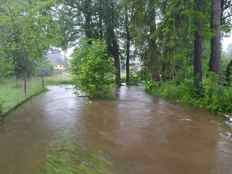 Řeka Řasnice v obci Dolní Řasnice se na několika místech vylila z koryta. Zaplaveny jsou především zahrady domů stojících blízko u říčky.