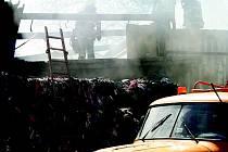 SPÁLENIŠTĚ. Z žárem zničené haly odváželi hasiči hořící textil třemi nakladači. Shořela ho více jak polovina.