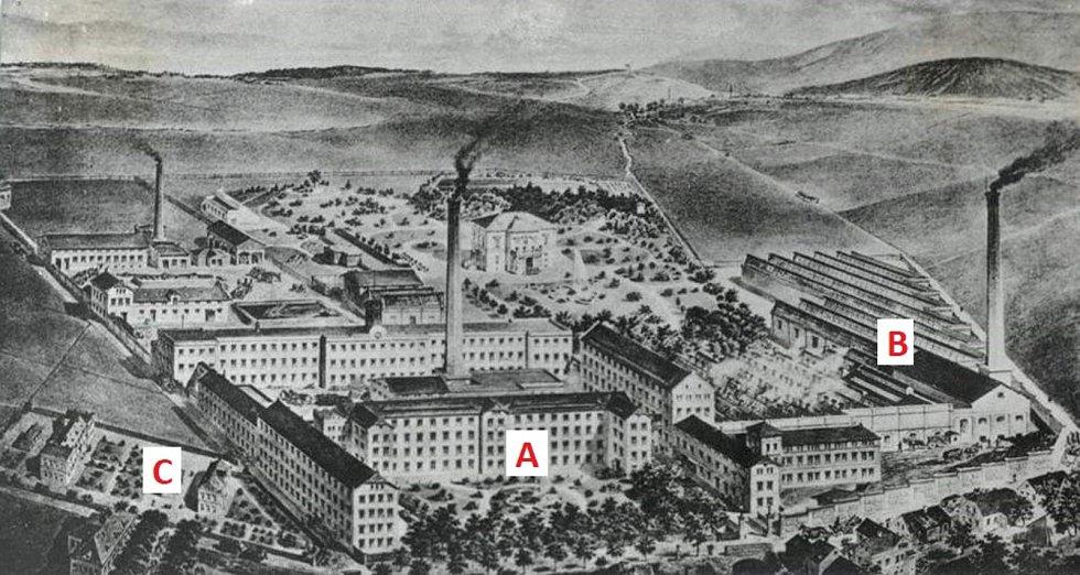 Takto vypadala továrna v roce 1874.