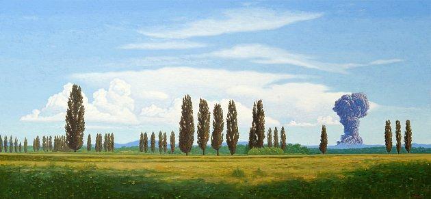Výstava vOblastní galerii představuje slovenské umělce. Dílo Bohdana Hostiňáka Et in Arcadia ego.