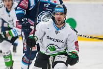 Utkání 31. kola Tipsport extraligy ledního hokeje se odehrálo 20. prosince v liberecké Home Credit areně. Utkaly se celky Bílí Tygři Liberec a BK Mladá Boleslav. Na snímku je Dominik Pacovský.