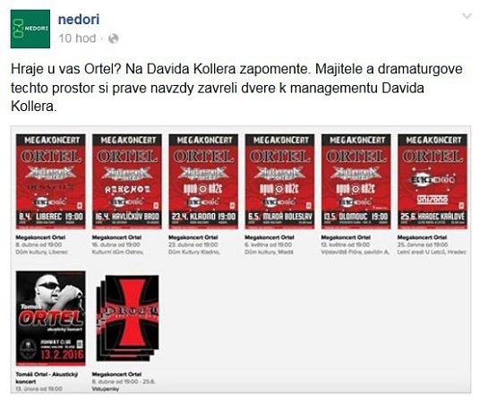DAVID KOLLER představil naposledy vDomě kultury 12.listopadu svou nejnovější desku ČeskosLOVEnsko. Vtomto sále si už vLiberci nezahraje. Jeho management se vymezil vůči Ortelu.