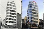 Baťa na Soukenném náměstí v Liberci dnes (vpravo) a na historické fotografii v publikaci Liberec v minulosti a současnosti