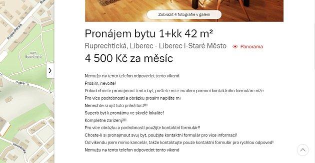 Falešné inzeráty se znovu objevily.Screen ze serveru sreality.cz ze dne 4.2.2018