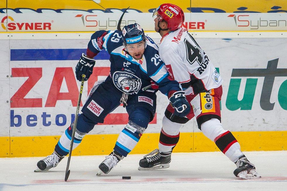 Utkání 1. kola Tipsport extraligy ledního hokeje se odehrálo 8. září v liberecké Home Credit areně. Utkaly se celky Bílí Tygři Liberec a Mountfield HK. Na snímku
