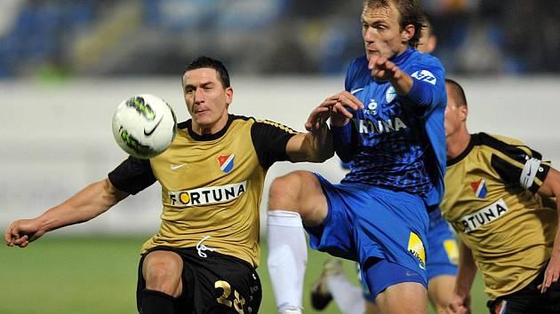 Souboj Slovanu Liberec s Baníkem Ostrava byl dlouho vyrovnaný.