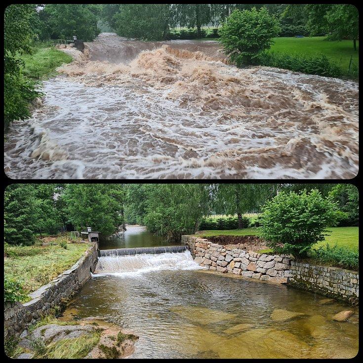 Problematický jez, jehož rekonstrukce by mohla pomoci ochránit domy při velké vodě.