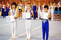 STUPNĚ VÍTĚZŮ. 1. Durák Sokol Bučovice, 2. Tomov Štěpán Gymnastika Liberec a 3. Marghold Sokol Šternberk.