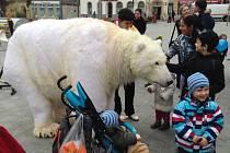 OHROMNÝ LEDNÍ MEDVĚD, který vypadá jako živý, je součástí kampaně Greenpeace, jejímž cílem je zachránit domov skutečných medvědů Arktidu.